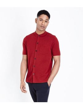 Dark Red Button Through Polo Shirt by New Look