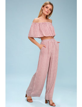 Birch Mauve Striped Off The Shoulder Two Piece Jumpsuit by Lulus