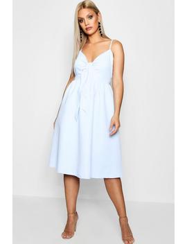 Plus Piper Knot Front Midi Skater Dress by Boohoo