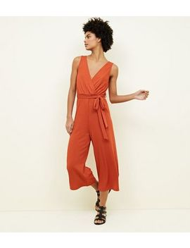 Rust Ribbed Sleeveless Jersey Culotte Jumpsuit by New Look