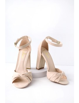 Carly Nude Suede Ankle Strap Heels by Lulus