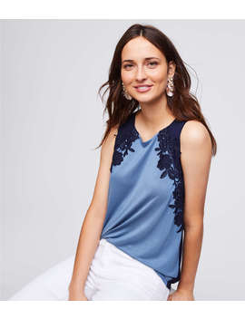 Floral Lace Colorblock Shell by Loft