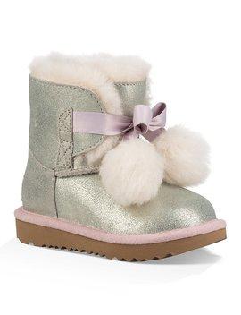 Ugg® Girls' Gita Metallic Satin Bow Pom Pom Boots by Ugg