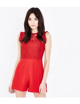 Red Lace Bodice Playsuit by New Look