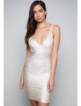 Gold V Neck Bandage Dress by Bebe