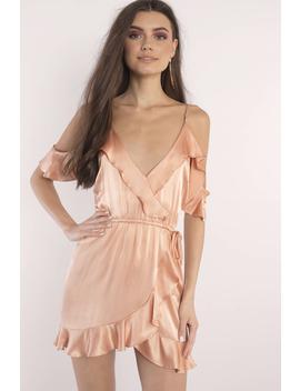 Roe + May Viv Coral Mini Satin Wrap Dress by Tobi