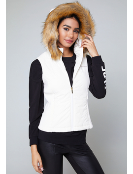 Hooded Puffer Vest by Bebe