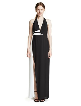 V Neck Gown With Contrast Sash by Halston Heritage