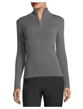 Ribbed Underwire Zip Pullover by Balenciaga