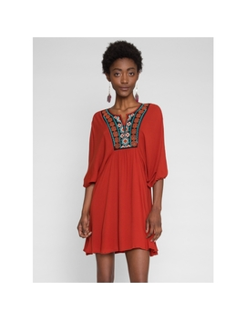 Boho Embroidery Swing Dress In Orange by Wet Seal
