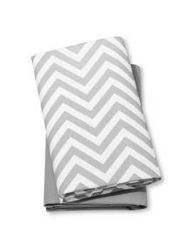 Fitted Playard Sheets Chevron & Solid 2pk   Cloud Island™   Gray/White by Cloud Island™