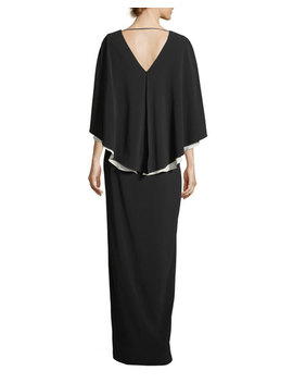Colorblock V Neck Cape Evening Gown by Halston Heritage