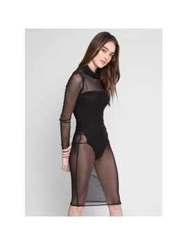 Seduction Mesh Fitted Dress With Bodysuit Lining by Wet Seal