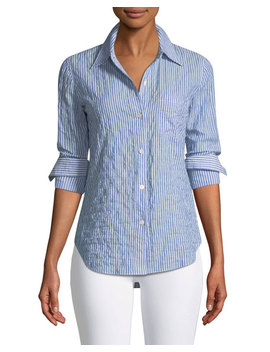 Classic Striped Button Front Top by Theory