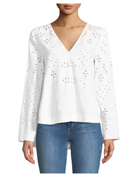 Relaxed Eyelet Linen V Neck Top by Theory