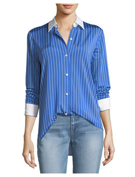 Essential Button Down Jersey Striped Blouse by Theory