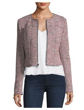 Ualana Z Beacon Tweed Zip Front Cropped Jacket by Theory