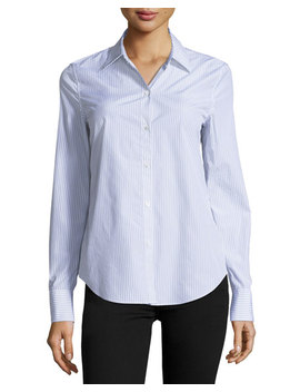 Dalton Striped Perfect Fit Blouse by Theory