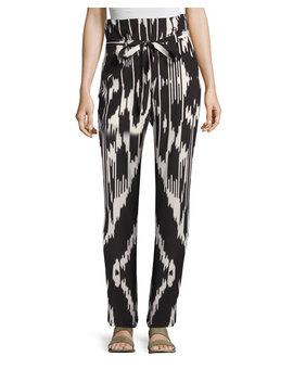 Gunilla Interlace Ikat Silk Pants, Multi by Theory