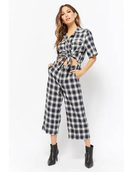 Plaid Tie Front Jumpsuit by Forever 21
