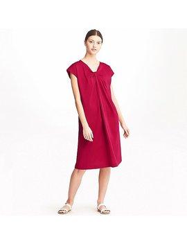 Women Mercerized Cotton Tuck Short Sleeve Dress by Uniqlo