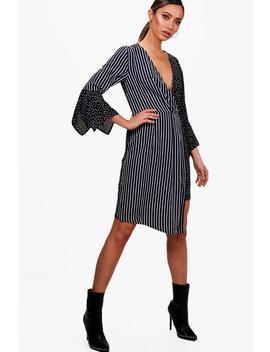 Carlie Mixed Print Wrap Front Midi Dress by Boohoo