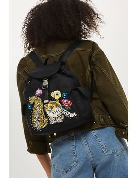 Leopard Mini Nylon Backpack by Topshop