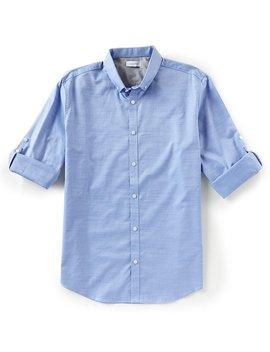 Herringbone Slub Stretch Long Sleeve Woven Shirt by Calvin Klein