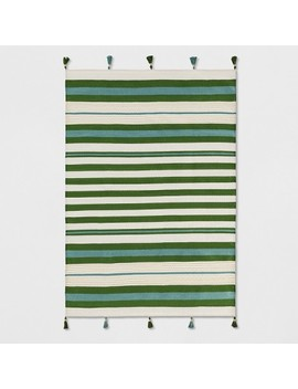 Teal Green Striped Tasseled Woven Rug   Opalhouse™ by Shop Collections