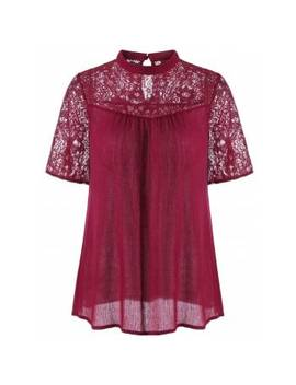Lace Trim Crinkle Blouse by Dress Lily