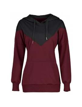 Color Block Kangaroo Pocket Drawstring Hoodie by Dress Lily