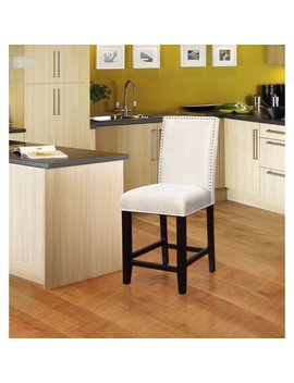 Linon Stewart Pearl Fabric Counter Stool, Black Frame, 24 Inch Seat Height by Linon
