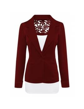 Lace Insert Lapel Blazer With Pocket by Dress Lily