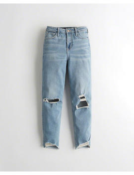 Stretch Ultra High Rise Slim Straight Ankle Jeans by Hollister