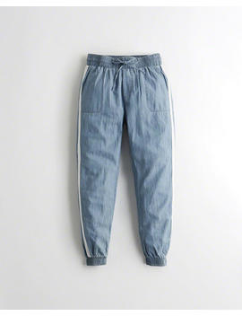 High Rise Chambray Joggers by Hollister