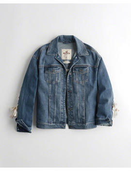 Lace Up Boyfriend Denim Jacket by Hollister