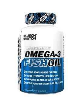 Evlution Nutrition Omega 3 Fish Oil 1250mg | High Epa 450mg + Dha 300mg Triple Strength Burpless Capsules (120 Servings) by Evlution
