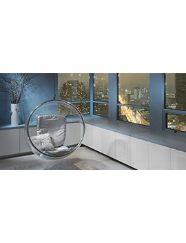 Kardiel Bubble Chair Hanging, Industrial Silver Cushion by Kardiel