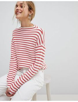Pieces High Neck Striped Sweater by Pieces