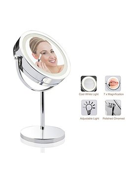 """Lighted Makeup Mirror   Led Vanity Makeup Mirror 7x Magnification Eye Makeup Mirror 7"""" Touch Screen Adjustable Light, Vanity Mirror Polished Chrome Travel Mirror by Vivreal Home"""