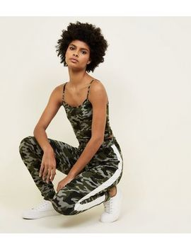 Khaki Camo Print Side Stripe Joggers 				  				 					 				 			 			 					Green Camo Crop Cami by New Look