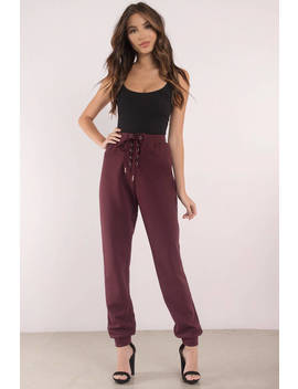 Chilled Wine Lace Up Joggers by Tobi