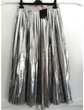 Bnwt V By Very Metallic Silver Champagne Pleated Midi Skirt Size 16 by Ebay Seller