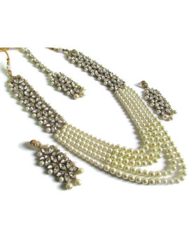 Indian Fashion Pearl Kundan Ethnic Bollywood Designer Necklace Jewelry Set by Unbranded