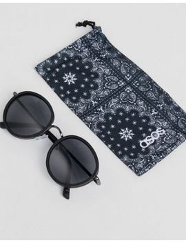 Asos Round Sunglasses In Matte Black by Asos