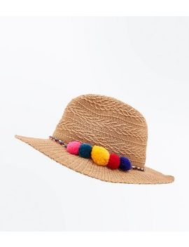Stone Pom Pom Fedora Hat by New Look