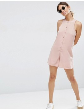 Asos High Neck Button Front Swing Playsuit by Asos Collection
