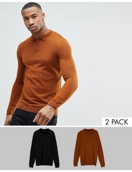Asos 2 Pack Knitted Muscle Fit Polo In Tan/Black Save by Asos