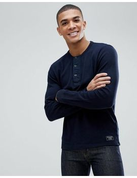 Abercrombie & Fitch Waffle Henley Long Sleeve Top In Navy by Abercrombie & Fitch