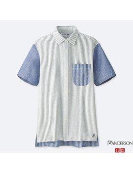 Men Jwa Linen Cotton Short Sleeve Shirt by Uniqlo